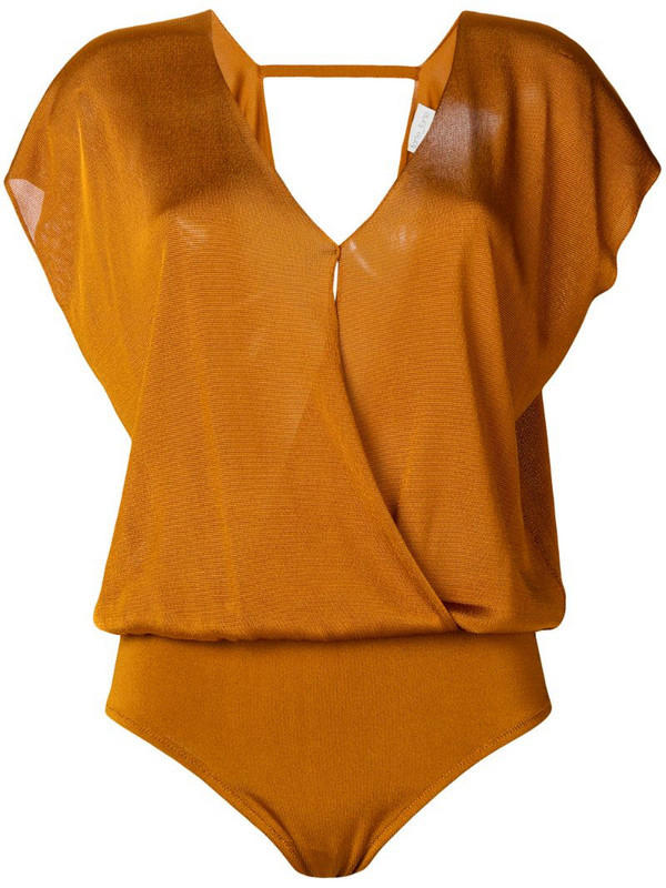 Forte Forte wrap front bodysuit in brown