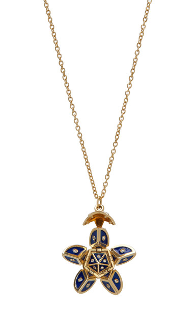 Santo by Zani 14K Gold Enamel And Diamond Necklace in blue