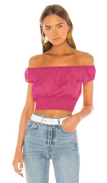 superdown Arina Sheer Crop Top in Pink