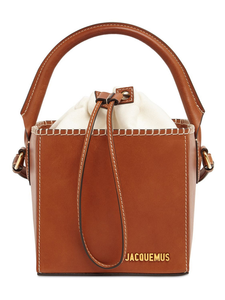 JACQUEMUS Le Seau Carre Square Leather Bucket Bag in brown