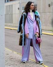 bag,mini bag,wide-leg pants,sneakers,blazer,brown coat,white turtleneck top