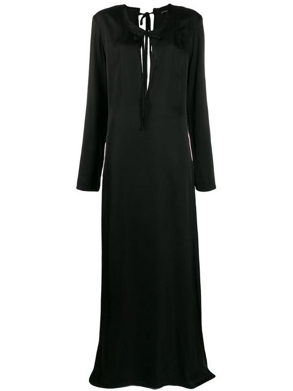 Ann Demeulemeester long sleeve tie neck dress in black