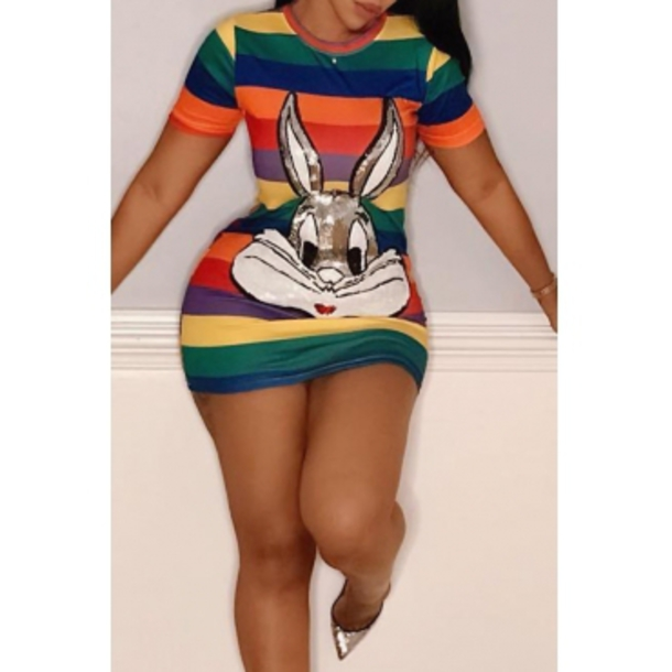 dress bunny mini mini dress cartoon animation bugs bunny stripes cheap mini dresses animation art