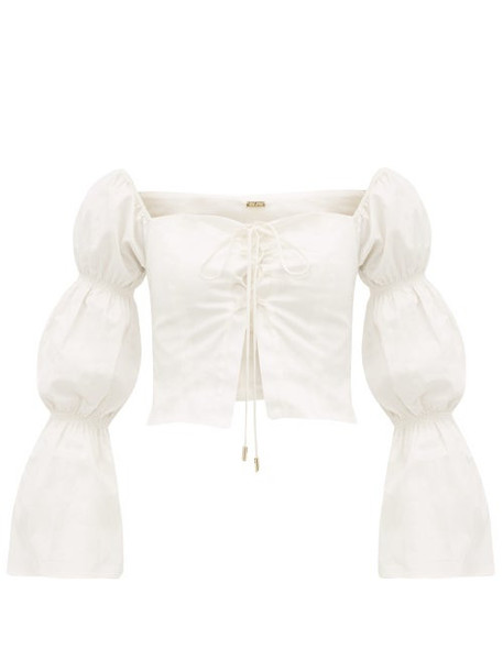 Cult Gaia - Claire Gathered Sleeve Cotton Blend Top - Womens - White