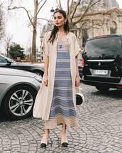 coat,long coat,short sleeve,pumps,maxi dress,striped dress,chanel,bag