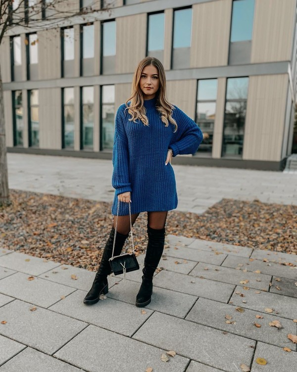 sweater turtleneck sweater oversized sweater black boots over the knee boots tights black bag