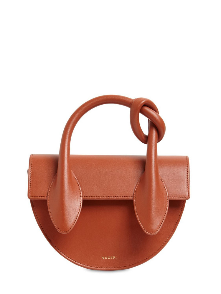 YUZEFI Dolores Leather Top Handle Bag in tan