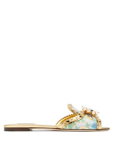 Dolce & Gabbana - Bianca Flat Slides - Womens - Gold Multi