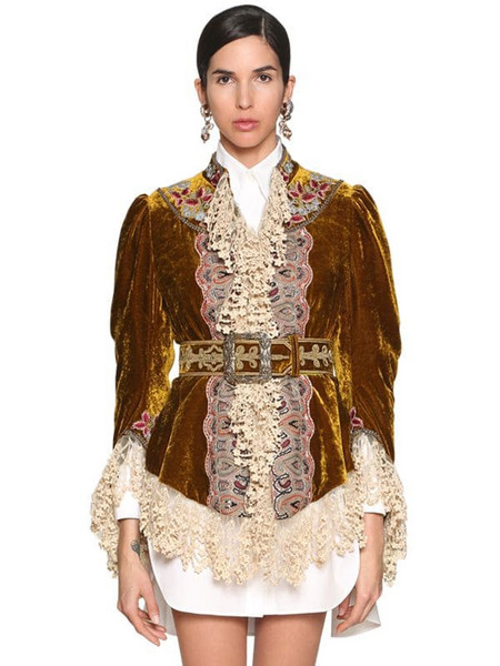 ETRO Embroidered Velvet & Lace Jacket in gold