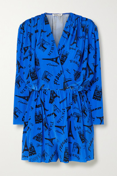 BALENCIAGA - Wrap-effect Printed Stretch-velvet Playsuit - Blue