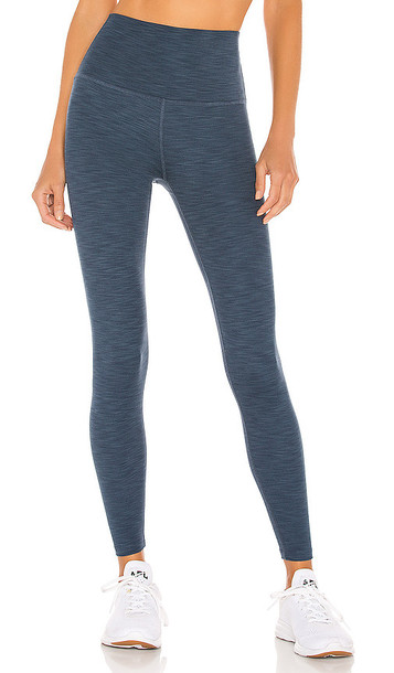 Beyond Yoga Heather Rib High Waisted Midi Legging in Blue