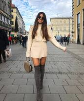 shoes,over the knee boots,grey boots,handbag,wrap skirt,mini skirt,turtleneck sweater