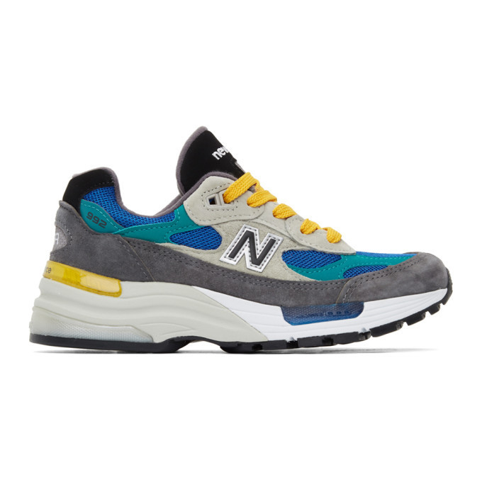 New Balance Grey and Blue Made In US 992 Sneakers in multi