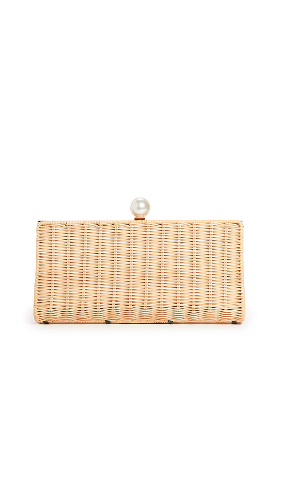 PAMELA MUNSON The Pearl Clutch in navy / natural