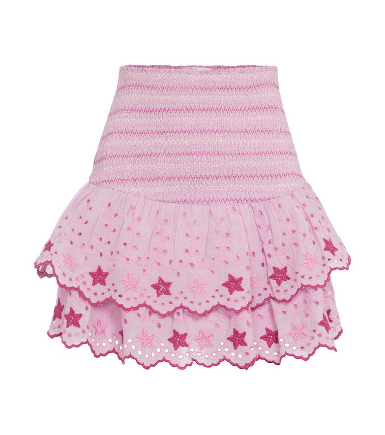 LOVESHACKFANCY Nathan embroidered cotton miniskirt in pink