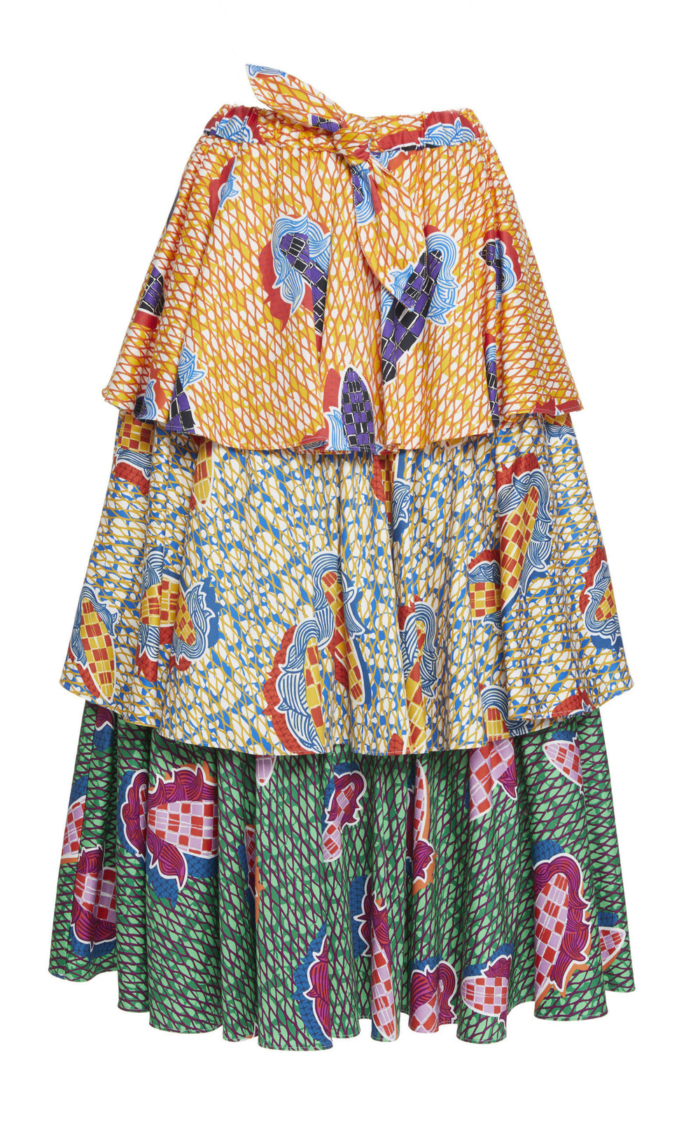 Stella Jean Tiered Cotton Blend Skirt in print