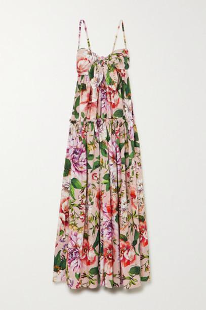 Dolce & Gabbana - Tie-front Tiered Floral-print Cotton-poplin Maxi Dress - Pink