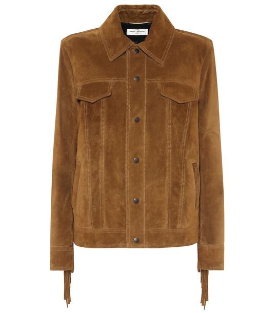 Saint Laurent Suede jacket in brown