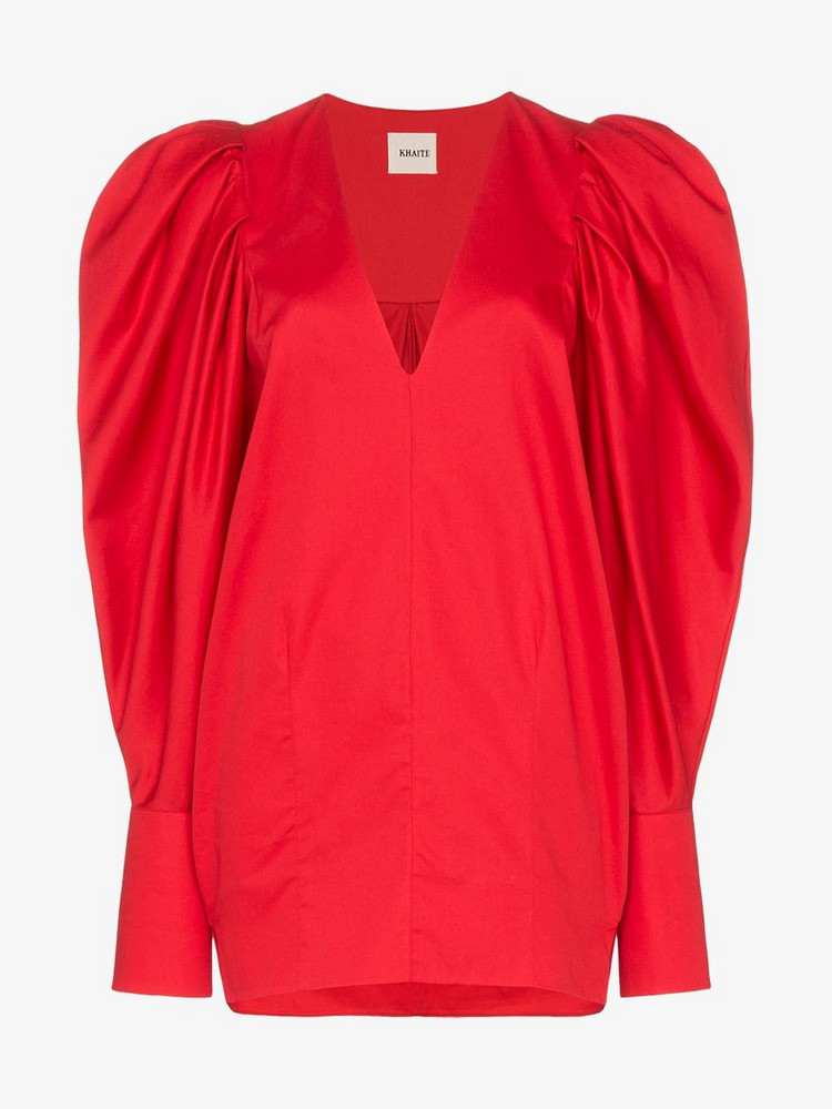 Khaite Conie pouf sleeves cotton top in red