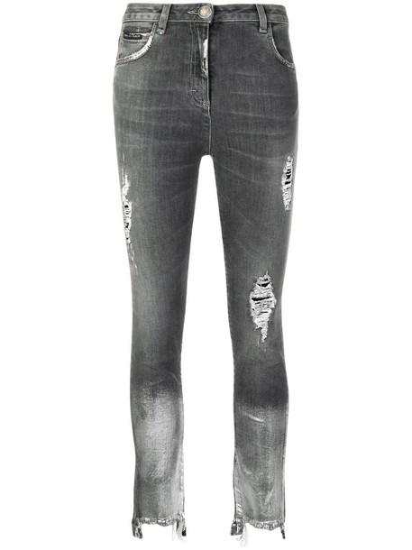 Philipp Plein coated hem jeans in grey