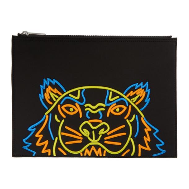 Kenzo Black Neoprene Tiger Pouch