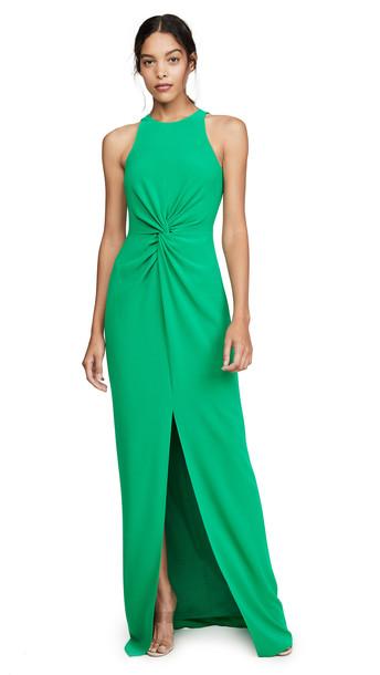 HALSTON Twist Drape Detail Crepe Gown in emerald
