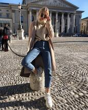sweater,turtleneck sweater,h&m,white sneakers,high waisted jeans,cropped jeans,camel coat,bag,levi's,sunglasses
