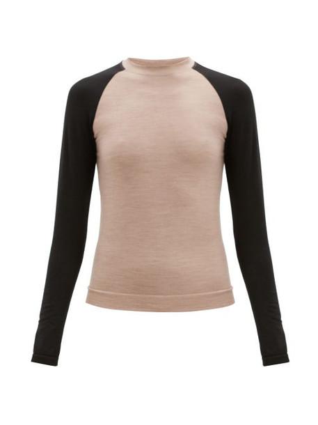Ernest Leoty - Albane Long-sleeved Merino Wool-blend Top - Womens - Black Beige