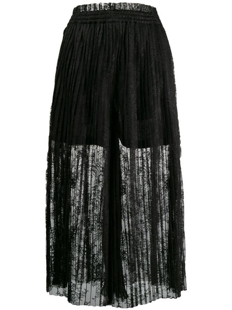 MM6 Maison Margiela pleated lace maxi skirt in black