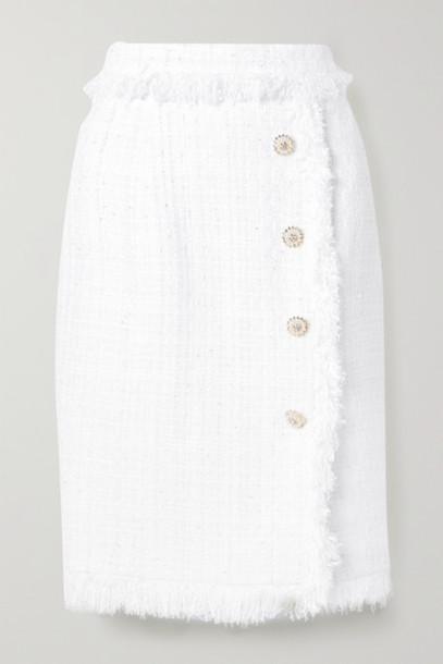 Ralph & Russo - Fringed Embellished Metallic Tweed Skirt - White