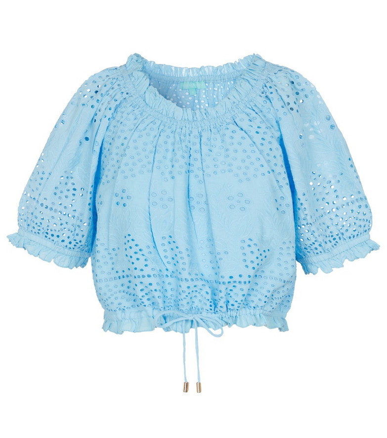 Melissa Odabash Francesca broderie anglaise cotton top in blue