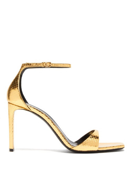 Saint Laurent - Bea Metallic Snakeskin-embossed Leather Sandals - Womens - Gold