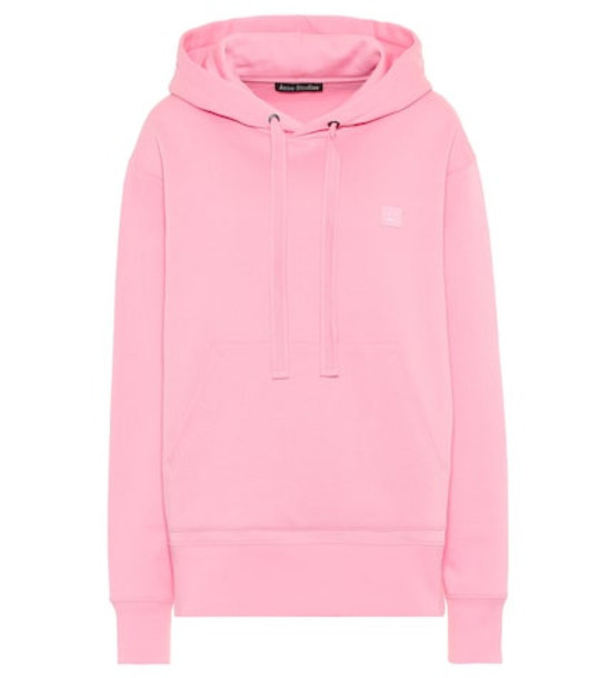 Acne Studios Ferris Face oversized cotton hoodie in pink
