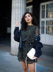 samieze,blogger,dress,shoes,jacket,bag,white bag,mini dress,spring outfits