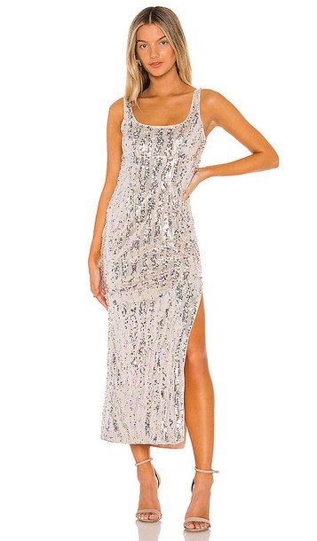 MAJORELLE Danielle Maxi Dress in Metallic Silver