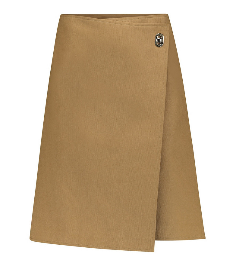Bottega Veneta Mid-rise wrap cotton miniskirt in beige