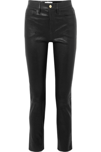 FRAME - Le Sylvie High-rise Slim-leg Leather Pants - Black