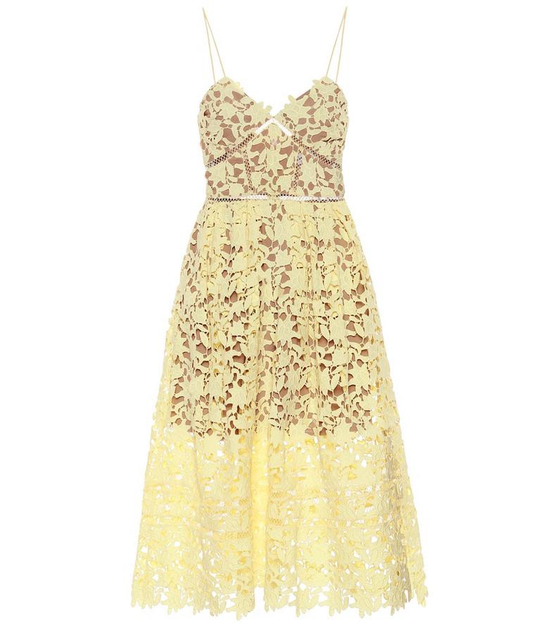 Self-Portrait Azaelea floral lace midi dress in yellow