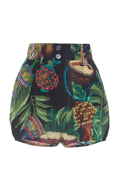 Dolce & Gabbana Printed Bubble Shorts Size: 36 in black