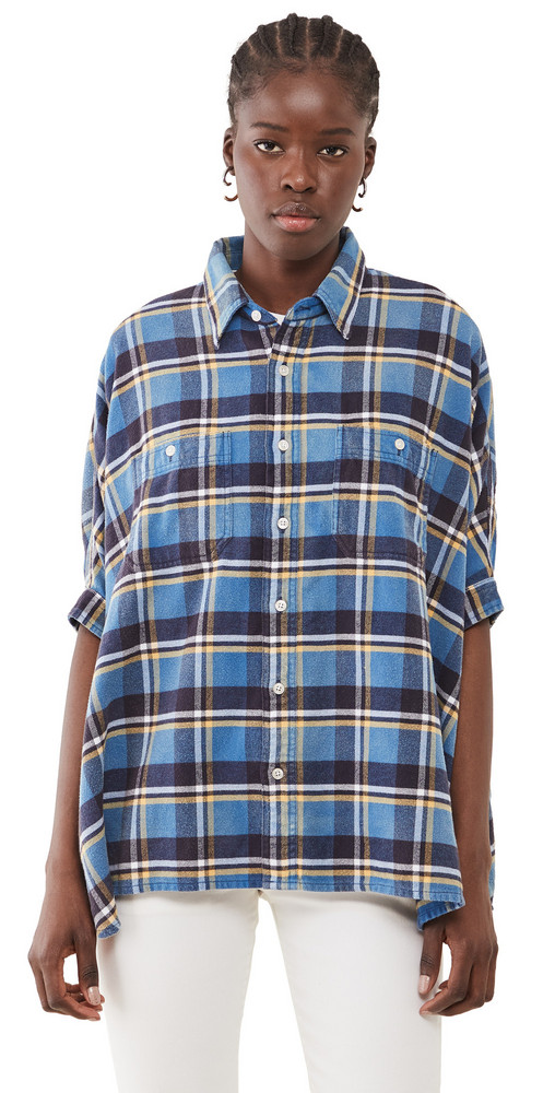 R13 Plaid Oversized Boxy Shirt in blue