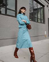 skirt,midi skirt,blue skirt,set,blouse,brown boots,knee high boots,heel boots,mini bag,brown bag