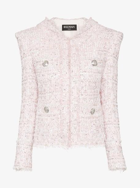 Balmain Strong Shoulder Hooded Tweed Pullover Jacket in rose