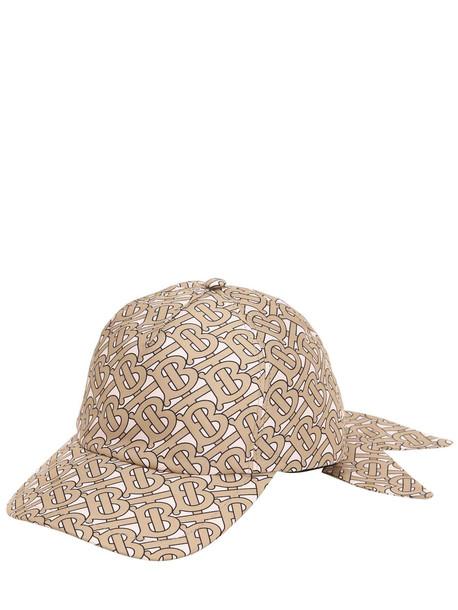 BURBERRY Tb Monogram Print Silk Baseball Hat in pink