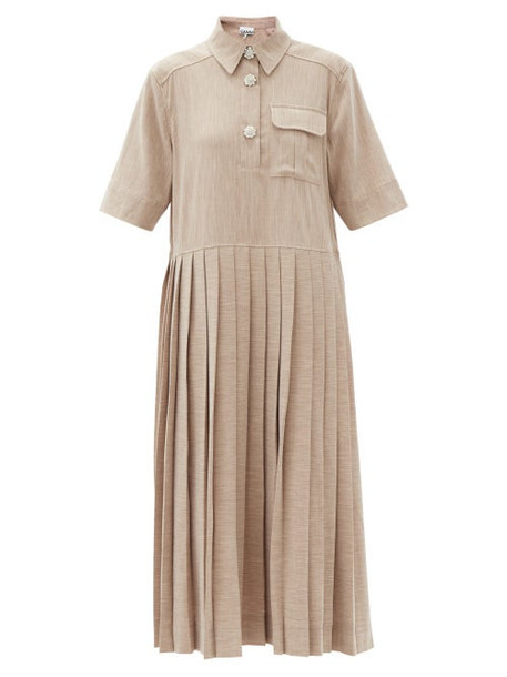 Ganni - Crystal-buttoned Pleated Melange Midi Dress - Womens - Light Beige