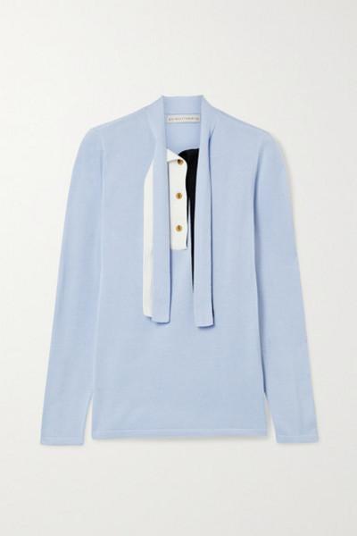 palmer/harding palmer//harding - Revan Tie-neck Cotton And Modal-blend Sweater - Sky blue