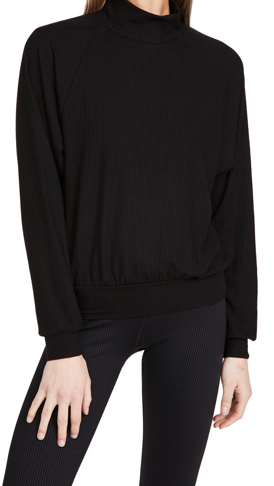 Year of Ours Jane Mock Neck Top in black