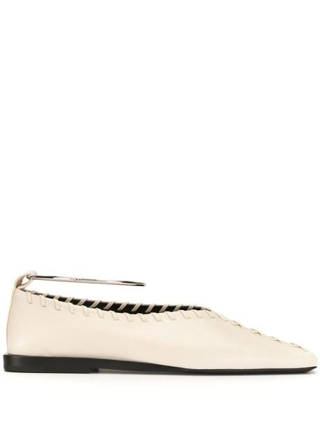 Jil Sander square-toe ballerina shoes in white