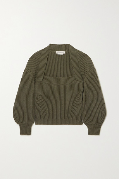 ALEXANDER MCQUEEN - Ribbed Cotton Sweater - Green
