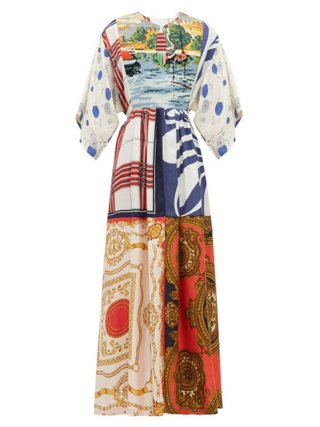 Rianna + Nina Rianna + Nina - Embroidered Bib Patchwork Printed Silk Dress - Womens - Multi