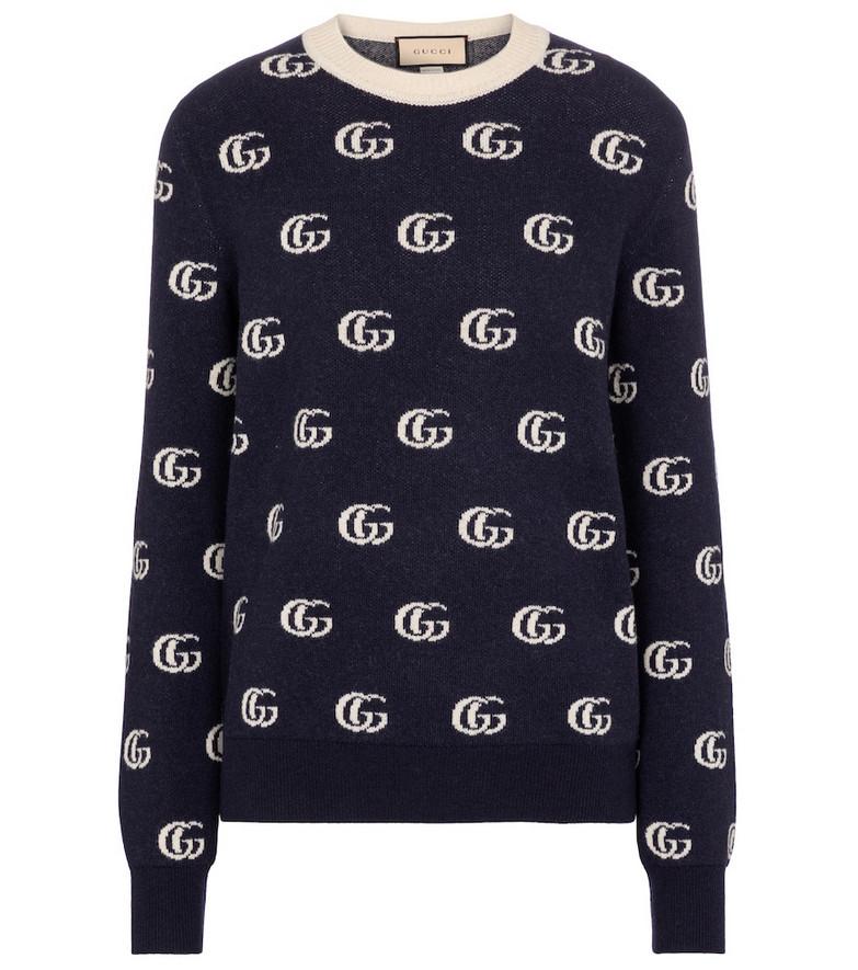 Gucci GG wool jacquard sweater in blue